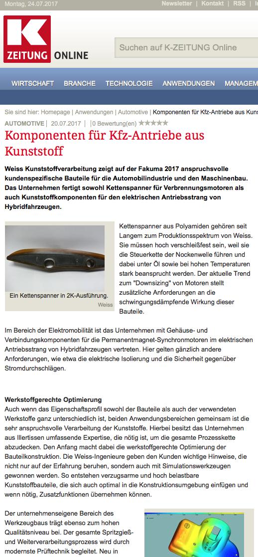 K Zeitung: Kunststoff-Komponenten für Kfz-Antriebe | MARKKOM